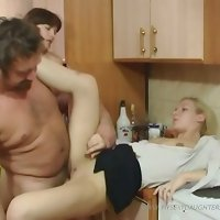 Daddy, his daughter and her horny bisexual girlfriend fucking like rabbits
